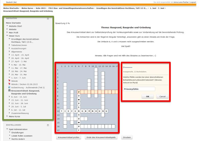 Kreuzworträtsel E Learning An Hochschulen